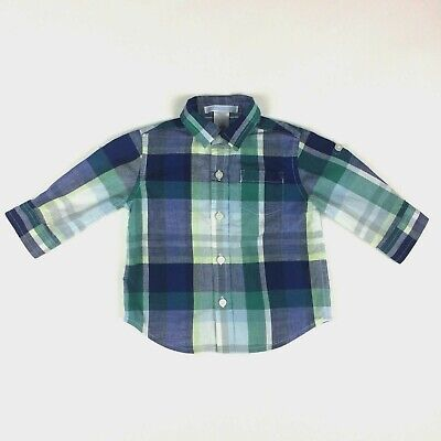Janie and Jack Boys 3-6 Months Shirt Button Up Tab Sleeve Plaid Blue Green Baby