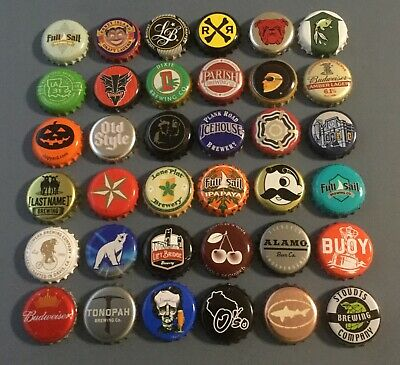 36 plastic lined beer bottle caps used 36 different mixed lot