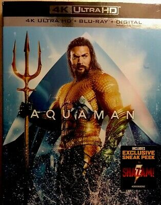 Aquaman (4K Ultra HD, Blu-ray, 2019) NEW!  No Digital Code