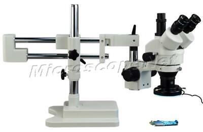 Dual-arm Zoom Stereo Boom Stand Trinocular Microscope 3.5-90X+144 LED Ring Lite
