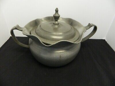 Antique Pewter Lidded Bowl with Handles Marked With Angel, Windmill & #18