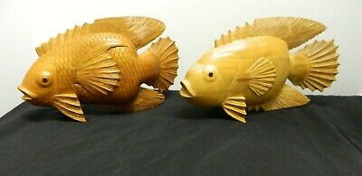 2 Vintage Large Hand Carved Wood Wooden Figurine  Asian Gold Fish