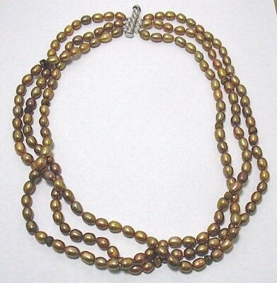 """Genuine Pearl Necklace Brown W/ Tigers Eye Beads Silver Clasp 3 Strand 20"""" Long"""
