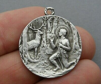 1122f82388f French Antique Religious Large Sterling Medal. Saint Hubertus Hubert, By  Tricard