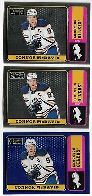 Connor McDavid 2018-19 OPC Platinum Retro Blue Rainbow Parallel #/149 3-Card Lot