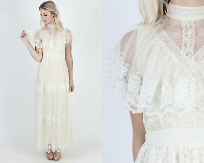 Vtg 70s Lace Prairie Dress Sheer Floral Ivory Romantic Boho Wedding Tiered Maxi