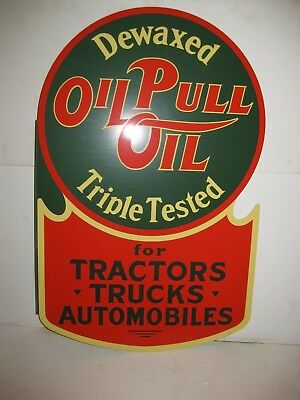 Oil Pull Oil Gasoline Sign  Truck Tractor Car Vintage Gas Pump Service