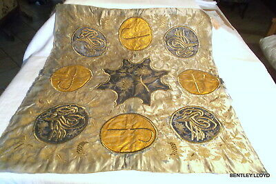 ANTIQUE OTTOMAN TURKISH GOLD and SILVER EMBROIDERY on SILK