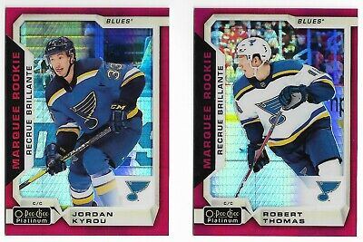 Blues 2018-19 OPC Platinum 2-Card Lot Red Prism /199 Robert Thomas Jordan Kyrou