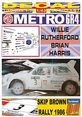 DECAL MG METRO 6R4 W. RUTHERFORD SKIP BROWN R. 1986 4th (12)