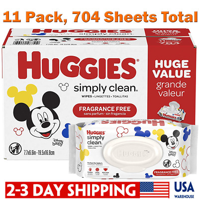 HUGGIES Simply Clean Fragrance-free Baby Wipes, 11-Pack, 704 Sheets Total