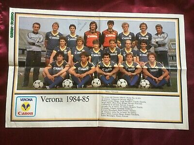 2 Autografi originali HELLAS VERONA 84/85 su Poster 41x28cm-RARISSIMO!-IN PERSON