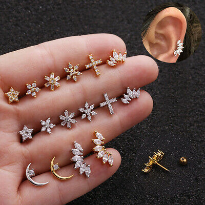 Crystal Bar Barbell Ear Cartilage Tragus Helix Studs Piercing Earrings JewelrySA