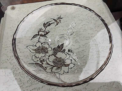 "Rare Glass Bowl Serving Candy Dish Plate Silver Overlay Trim Flowers 7½"" Footed"