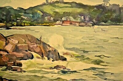 JOSEPH NEWMAN Signed Stormy Weather Coastal Harbor Seascape Watercolor Painting