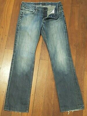 Mens WRANGLER STRAIGHT SHOOTER ButtonFront Distressed Blue Denim Jeans W32 L30.5