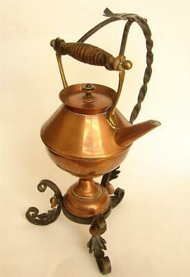 Rare Christopher Dresser Attributed brass spirit kettle iron stand Arts & Crafts
