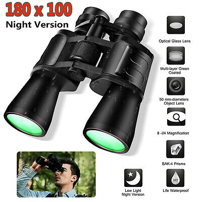 Day Night Vision 10-180x100 Zoom HD Binoculars Outdoor Hunting Telescope + Case