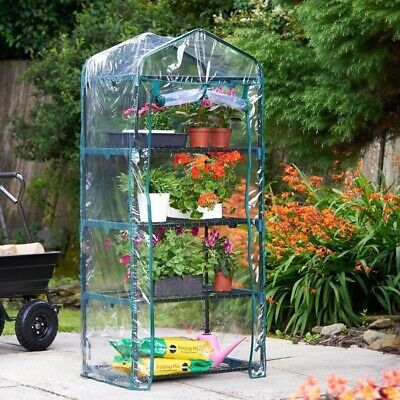 Compact 4 Tier Mini Greenhouse Garden Grow House PVC Cover Easy Assemble New