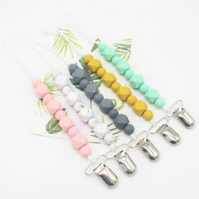 Baby Chew Dummy Soother Toys Teething Pacifier Clips Silicone Beads Chain Holder