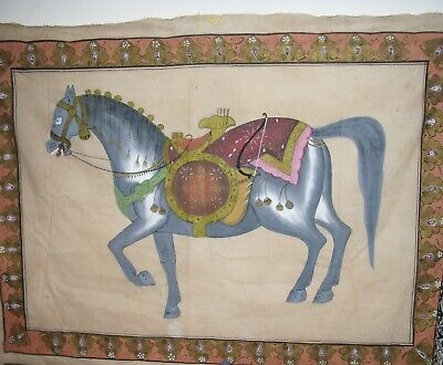"""VINTAGE  """"HORSE"""" WITH BORDER DETAIL PRINTED ON FABRIC ~  47"""" x 36"""" ~"""