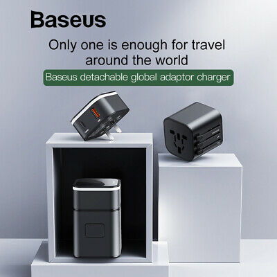 Baseus Universal Travel Adapter 18W Smart Charger (Black Type-C and USB Port)