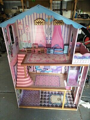 Ava/ Barbie Dolls /or small doll,dolls house 3 stories with lift,staircase. Used