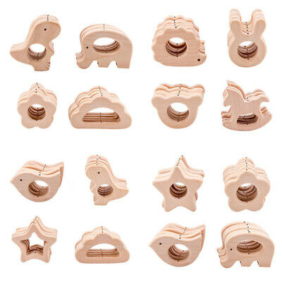 Beech Animal Wooden Teether Pendant Baby Sensory Teething Jewelry Toys Making