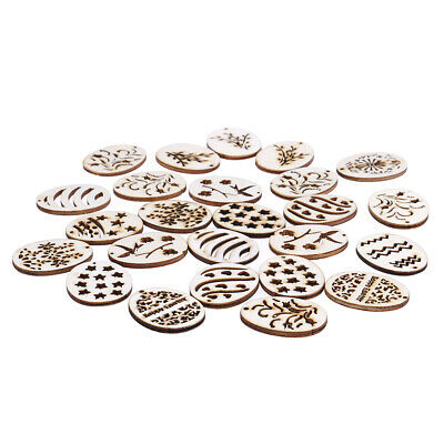 25pcs mix Easter Egg pattern Natural wood pendant Carft for Home decoration EW