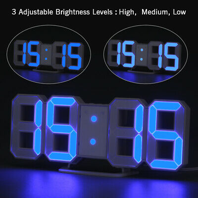 LED Digital 3D Numbers Wall Clock with 3 levels Brightness Alarm Snooze Blue