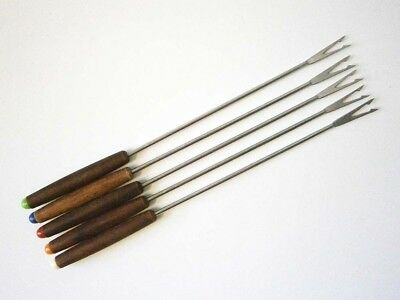 SET of FIVE VINTAGE STAINLESS STEEL FONDUE FORKS WOODEN HANDLES