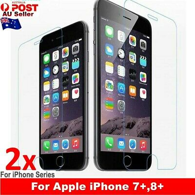 2X Tempered Glass Anti Scratch Screen Protector For Apple iPhone 7 Plus 8 Plus