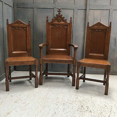 Quality Antique Ornate Oak Clergy Throne & Chairs