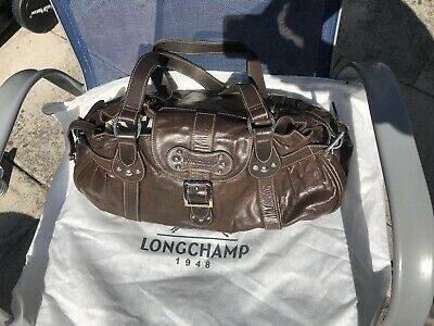 Authentic Vintage Longchamp Brown Leather Shoulder Bag Handbag