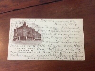 Postcard Private Mailing Card Central Hotel Uniontown Pennsylvania