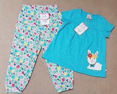 Frugi Girls Bunny Top & Floral Harem Trousers 3-4 Years BNWT
