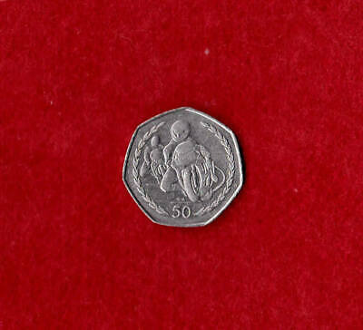 QUEEN ELIZABETH II -Isle Of Man 1997  TT Races  50p Fifty Pence Coin