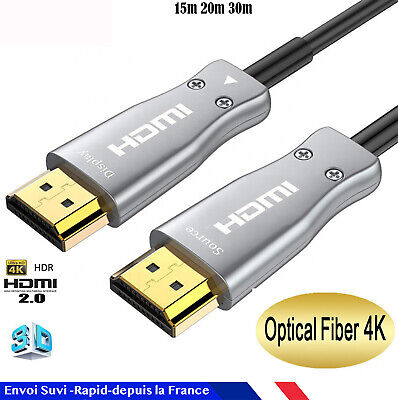 Cable hdmi FIBRE OPTIQUE 2.0 4K 60Hz ultra HD 3D Full HD HDTV ARC HDR 15 20 30 M