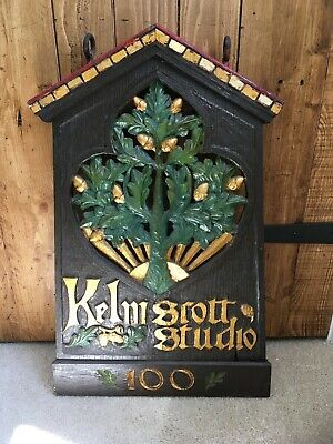 Antique Arts & Crafts Hand Carved & Painted Oak Hanging Sign - Kelmscott Studio