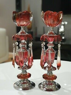 Antique crystal candle sticks pair silver red