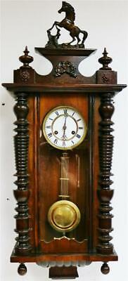 Antique German 8 Day Carved Mahogany Vienna Regulator Gong Striking Wall Clock