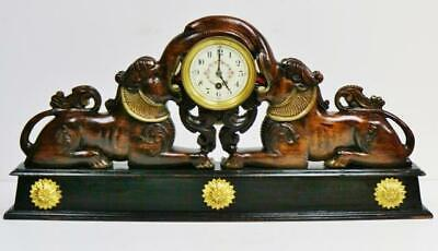 Large Antique French 8 Day Solid Carved Oak Oriental Elephants Mantel Clock