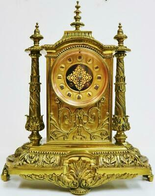Antique French 8 Day Embossed Cast Bronze Ormolu Gong Striking Mantel Clock