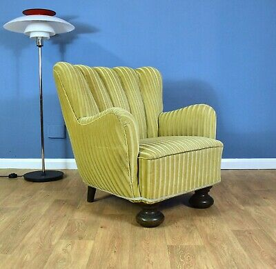 Mid Century Art Deco Danish Gold Velour Club Lounge Arm Chair 40s (1 Sold)