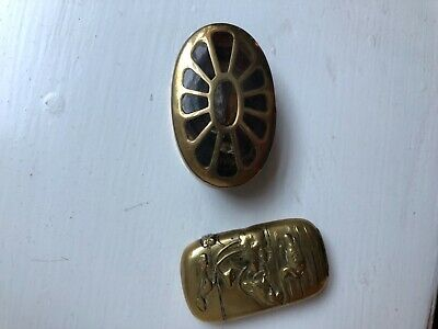 Tiger eye agate snuff box and a Japanese match brass box both antique