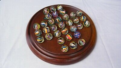 STUNNING ANTIQUE MAHOGANY SOLITAIRE BOARD wth 33 HAND MADE ANTIQUE GLASS MARBLES