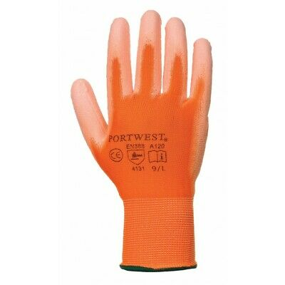 Work Gloves PU Coated General Purpose Portwest A120 ORANGE Size XS - 2XL