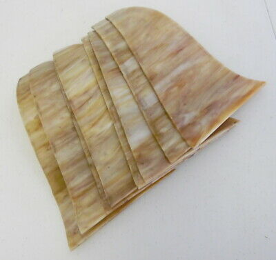 8 Antique Caramel Curved Bent Panel Stained Slag Glass Lamp Panels ~ Free Ship