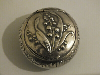 Art Nouveau Style Silver Box / Pill Box / Rouge Pot - Lily of the Valley