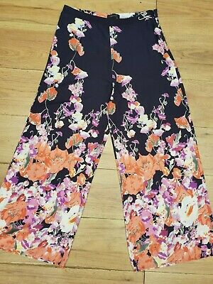 River Island Navy Blue Floral Palazzo Trousers == Uk 12 ==